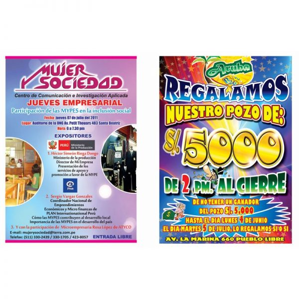 Afiches Tamaño 45x30 (Tabloide)